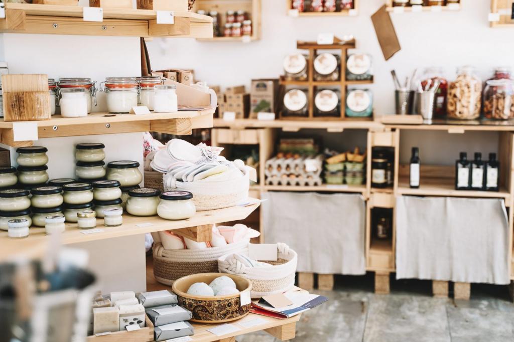 produits issus de labels écologiques posés sur des étagères dans un magasin